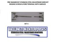 HYDRAULIC SWAGED  D.I.Y STAINLESS STEEL  WIRE BALUSTRADE KIT W/SADDLES KIT 4