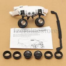 8 Lente Reemplazable 10X 15X 20X 25X Gafas De Aumento Lupa 2 LED Joyero Relojero