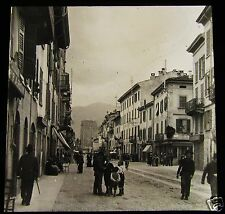 Glass Magic Lantern Slide A STREET IN COMO C1910 ITALY