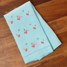 Vintage Linen Hand Towel Hand Embroidered Delicate Flowers Blue 1930s 1940s