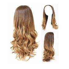 Long Hair Wig Clip In Full Head Hairpiece Wavy Curly Frizzy Puffy Ombre Blonde