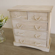 Small Shabby Chic Style Wooden 5 Drawer Storage Cabinet Jewellery Box Chest Unit