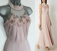 Karen Millen Nude Jewel Pleated Cocktail Evening Maxi Dress sz-10 EU-38 £499