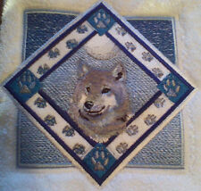 WOLF TRIANGLE EMBROIDERED SET 2 BATHROOM HAND TOWELS