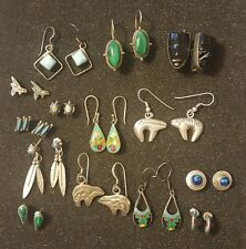 Vintage Old Pawn Sterling Silver Earrings Lot 14 Pair Mexican & Native American