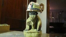 Vintage Hawaii Tiki Hand Carved Coconut  Monkey Ape Gorilla Figurine & Helmet