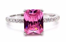 Sterling Silver Pink Sapphire And Diamond 2.95ct Ring (925) Size 7 (N)