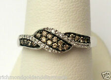 White Gold Champagne Chocolate and White Diamonds Fashion Righ Hand Ring Band