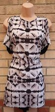 H&M GREY ABSTRACT TRIBAL BLACK BACK  BLOUSE TOP T SHIRT TUNIC CAMI VEST 12 M