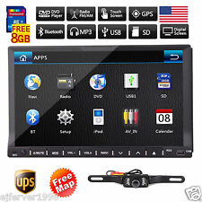 """7"""" HD Touch Screen Double 2 DIN Car GPS Stereo DVD Player Bluetooth Radio+Camera"""