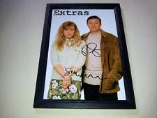 "EXTRAS CAST X2 PP SIGNED & FRAMED 12""X8"" POSTER RICKY GERVAIS STEPHEN MERCHANT"