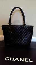 Authentic CHANEL Cambon Tote Bag Black Leather/Patent Leathe