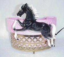 Retro TV Lamp Rare 50s Black & White Horse w/Pink Planter Wire Holder