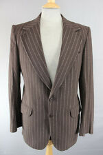 VINTAGE 1970's CHRISTIAN DIOR PURE WOOL BROWN PINSTRIPED JACKET 38 INCH (LONG)
