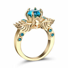 Size 6  Rhodium Gold Plated Wedding Engagement Ring Anniversary Propose Blue CZ
