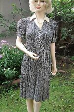 Vtg 1930s or 40s Day Dress, Abstract White Birds on Navy Blue Print, Small - Med