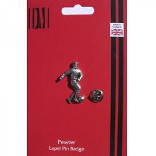 Silver Footballer Design English Pewter Lapel Pin Badge Handmade In England New