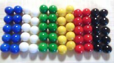 """60 Vintage CHINESE CHECKERS Glass Marbles 6 colors 17/32"""" 13mm"""