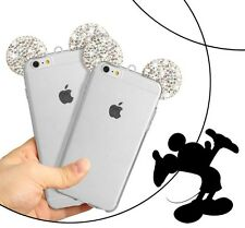 SILVER LUXURY CRYSTAL MICKEY MOUSE EAR SOFT CLEAR TPU CASE FOR iPHONE 5 /5s /5se