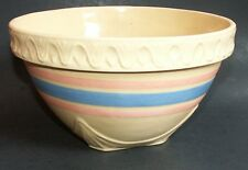 "Large Vintage 9"" Yellowware Pottery Mixing Bowl"