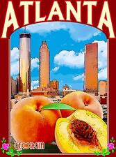 Atlanta Georgia City Scape Peaches United States Travel Advertisement Poster