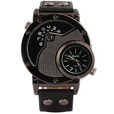 Oulm New Men's Fashion Double Time Leather Sports Analog Quartz Wrist Watch US