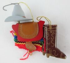 "Western Cowboy Gear Christmas Tree Ornament Hat, Saddle & Boots 3.75"" Tall"