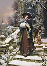 Woman On Stairs~counted cross stitch pattern #444~People Ladies Fine Art Chart