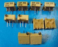 """Spectrol 64P203 3/8"""" Square Multi Turn 20K Ohm Cermet Trimming POT, 10pcs"""