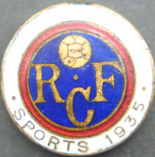 RANGERS FC Very rare 1935 SPORTS CLUB Badge Button hole fitting 20mm Dia