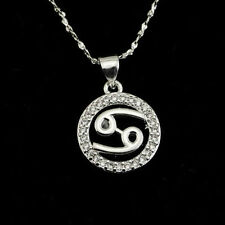 NEW Plating 925 Silver Cancer CZ Constellation lucky Necklace Pendant NF