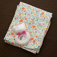 RL baby girl elegant classic floral cotton receiving blanket and Bear Rattle set