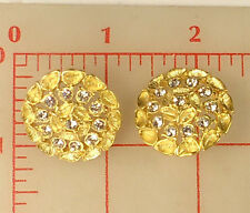 "2 lovely large gold metal buttons leaves design rhinestone 1 1/8"" 28mm 839 shank"