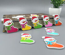 20pcs Christmas snowman socks Wooden Buttons Sewing Decorative Crafts 33mm