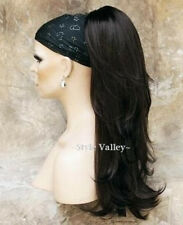 Brown Black Ponytail Extension Hair Long Wavy Layered Clip in/on Hairpiece