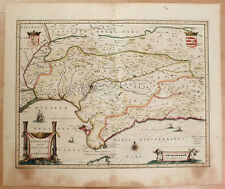 Carte c1650 JANSSONIUS folio map couleurs ANDALOUSIE Andalucia Séville Cordoue 6