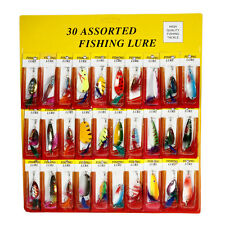 Lot 30pcs Metal Fishing Lures Spinner Baits Crankbait Feather Fish Hooks Tackle