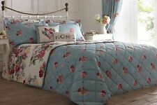 CAMBERLEY VINTAGE STYLE PRINTED FLORAL REVERSIBLE BEDSPREAD 229cm x 195cm