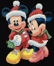 "NATALE MICKEY & MINNIE BLK contato CROSS STITCH KIT 9 ""X 11"" DISNEY Gratis P&P"