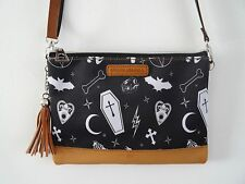 Gothic Alternative Black Handbag - Bat Ouija Skull Bag Clutch Horror Brown