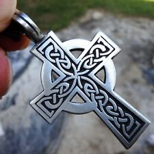 Celtic Solar Cross Druid Irish Pewter Pendant With Cotton Necklace #406