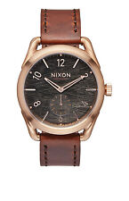 New Nixon C39 Rose Tone Brown Leather Strap Unisex Swiss Quartz Watch A4591890