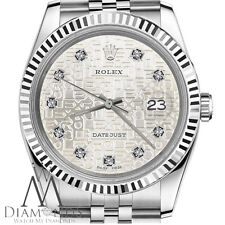 Womens Rolex 26mm Datejust Diamond Dial with Silver Jubilee Metal Plate Watch