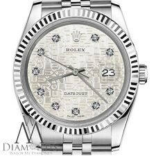 Authentic 26mm Rolex Datejust Diamond Dial w Silver Jubilee Metal Plate SS Watch