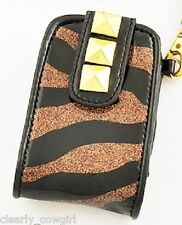 #8405 -- WESTERN COWGIRL BLACK BRONZE ZEBRA STRIPE CELL PHONE CASE HOLDER