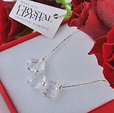 925 STERLING SILVER CHAIN NECKLACE SWAROVSKI Elements PENDULUM WHITE PATINA