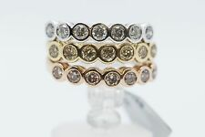 18K Tri-color Yellow Rose White Gold Bezel Set Diamond Bands.