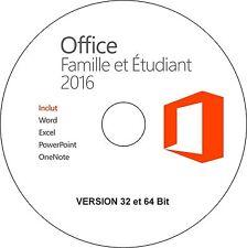 Office Famille et Etudiant 2016 32/64 bit installation sans licence