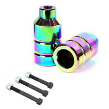 PRO STUNT SCOOTER PEGS NEO CHROME NEOCHROME OIL SLICK 100mm 110mm WHEEL FORK