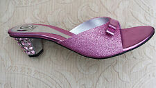 PINK LADIES WEDDING PARTY SLIPPER/MULES/BACKLESS SMALL HEEL SIZE 7